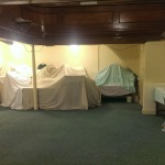 Main chapel area packed up and covered up