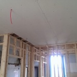 Ceiling is going in, bit by bit