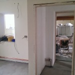 Looking through the new kitchen door into the corridor and chapel